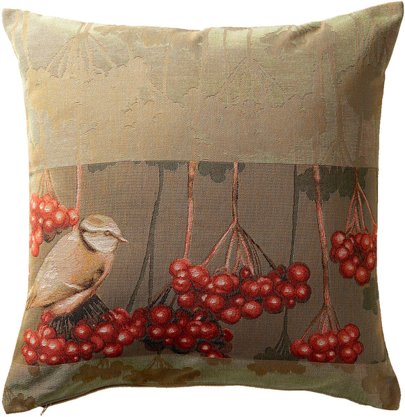Bird with Berries French Tapestry Cushion