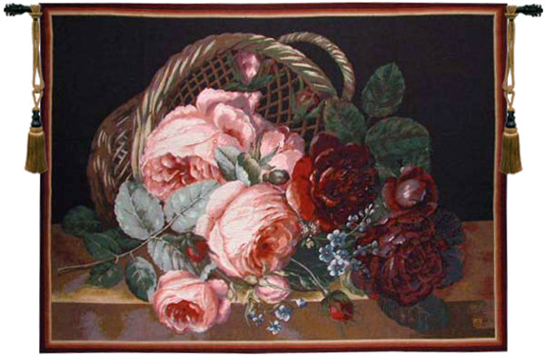 Silk Basket of Flowers Black French Tapestry