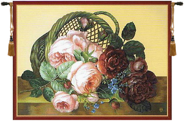Silk Basket of Flowers Beige French Tapestry