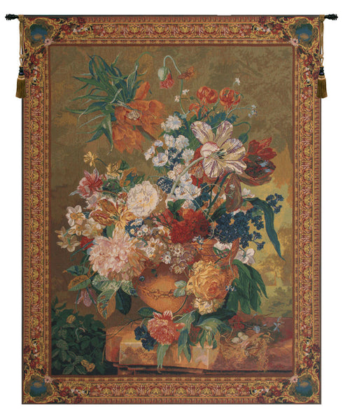 Terracotta Floral Bouquet Gold Belgian Tapestry Wall Hanging