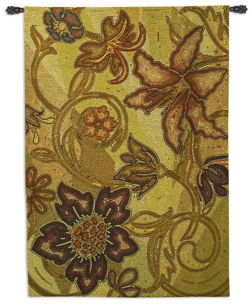 Autumn Mosaic - Botanical Contemporary Tapestry Wall Hanging