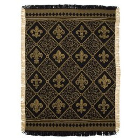 Fleur De Lis Gold  Tapestry Throw