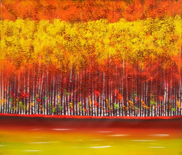 Autumn Birch Oil Painting