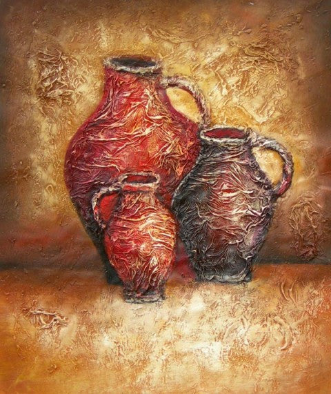 Crimson Jugs Oil Painting