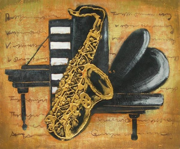 Sax and Piano Oil Painting