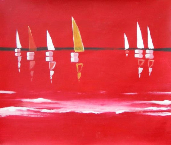 Abstract Sailboats Oil Painting