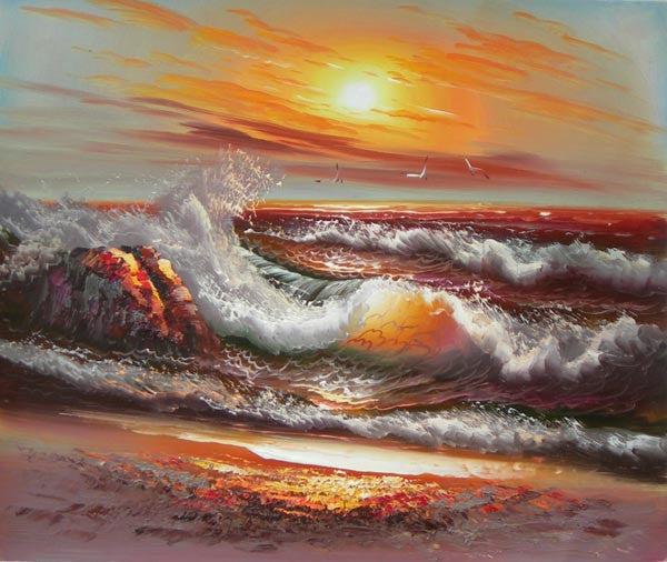 Curling Waves Oil Painting