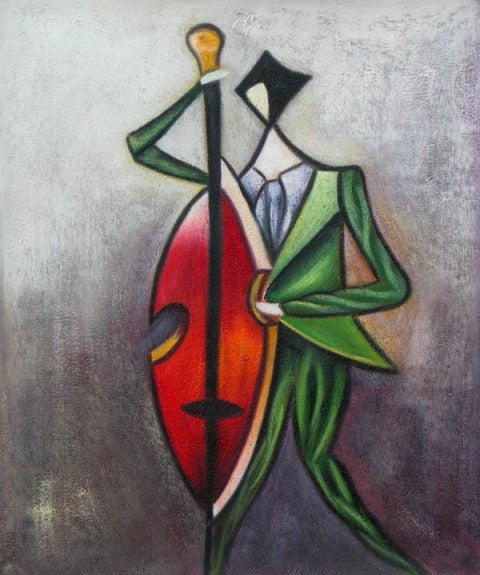 Abstract Musician Oil Painting
