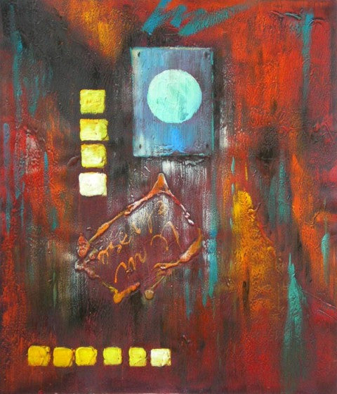 City Lights Abstract Oil Painting