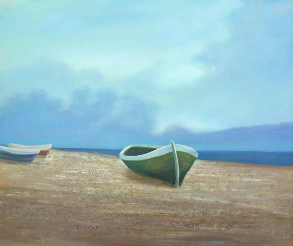 Boats under the Blue Sky Oil Painting