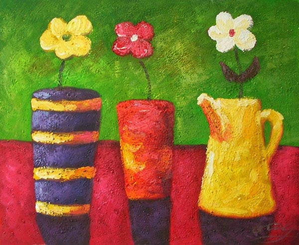 Flowers in Colorful Pots Oil Painting