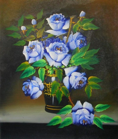 Blue Roses Canvas Wall Art