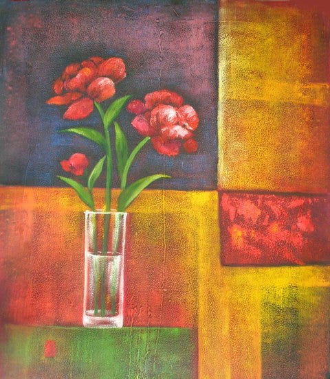 Red Flowers Abstract Oil Painting