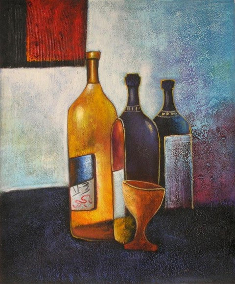 Chianti, Merlot, and Chardonnay Oil Painting