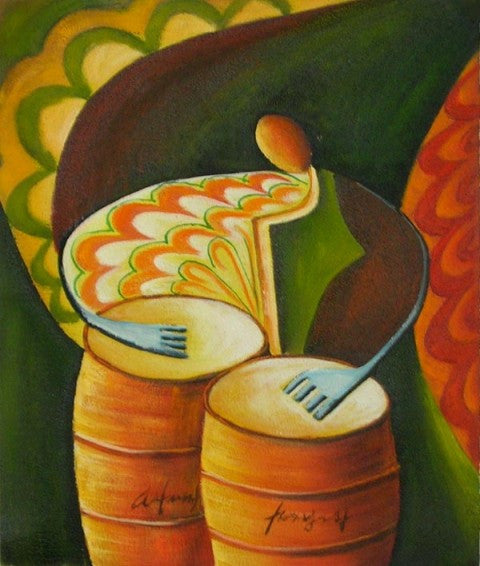The Bongo Player Oil Painting