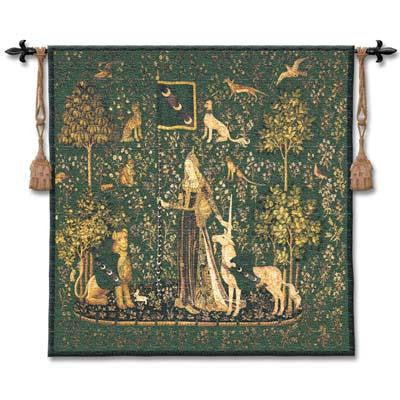 Sense of Touch Emerald unicorns Tapestry Wall Hanging