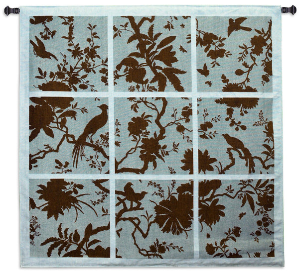Floral Division Aqua and Brown Tapestry Wall Hanging