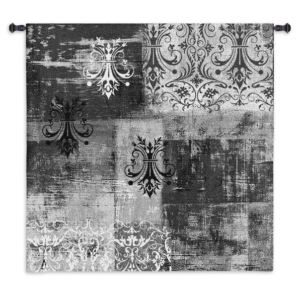 Abstract Damask Brushed Steel Square Tapestry Wall Hanging