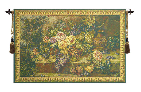 Bouquet with Grapes Green Italian Tapestry Wallhanging