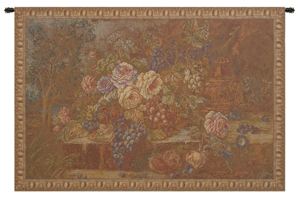 Bouquet with Grapes Red Italian Tapestry Wallhanging