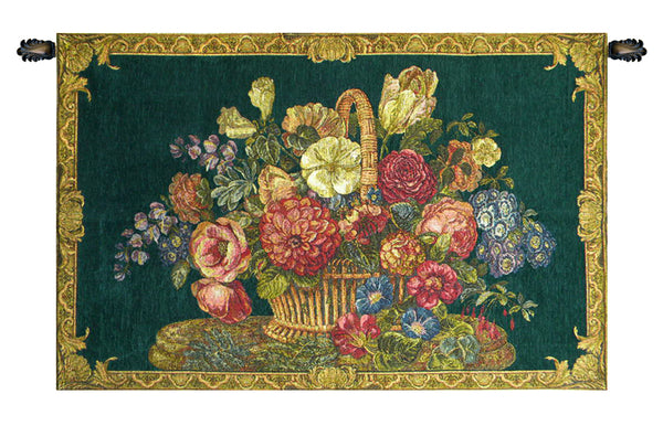 Flower Basket with Green Chenille Background Italian Tapestry Wallhanging