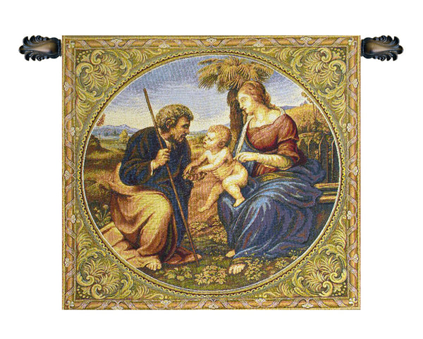 Sacred Family With Palm Italian Tapestry Wallhanging