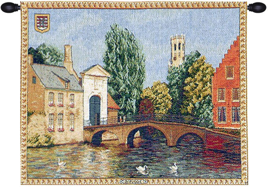 Brugges Riverside with Bridge French Tapestry