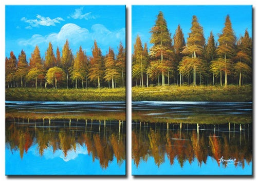 Lakeside Forest Canvas Art