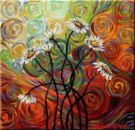 Psychedelic Daisies Canvas Art