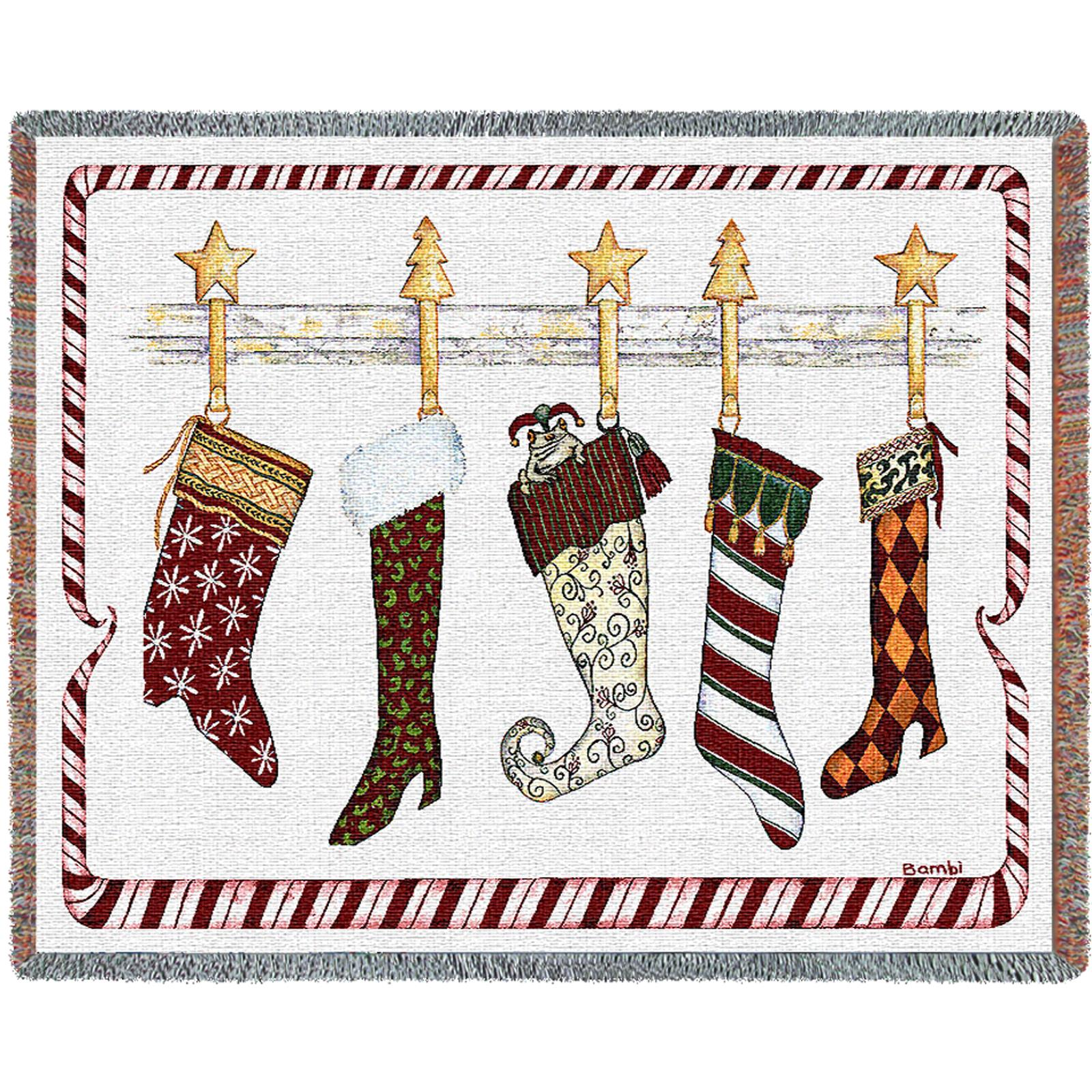 And the Stockings Were Hung Tapestry Throw