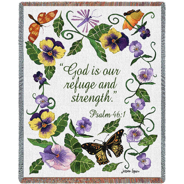Butterflies Psalm Tapestry Throw