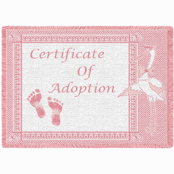 Certificate of Adoption Girl Tapestry Throw