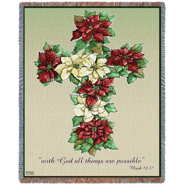Poinsettia Cross Tapestry Throw