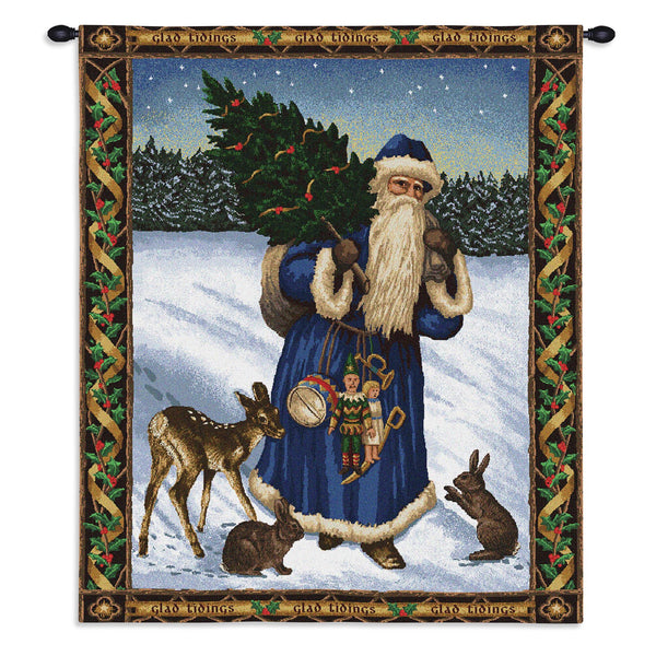 Father christmas blue  Tapestry Wall Hanging