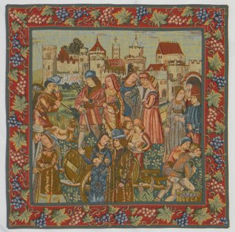 Wine Making with Border French Tapestry
