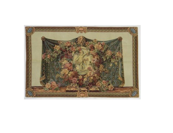Floral Cherub Tapestry Wall Hanging