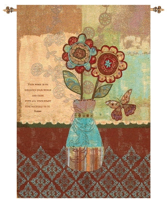 Flowers and Vase II Fine Art Tapestry