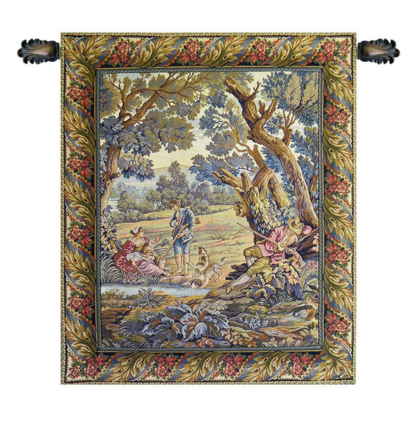 Hunters Resting Vertical Italian Tapestry Wallhanging