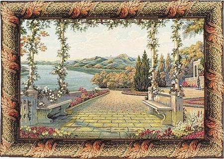 Terrace and Lake Tapestry Wall Hanging