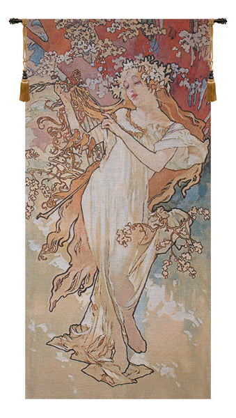 Spring Mucha Belgian Tapestry Wall Hanging