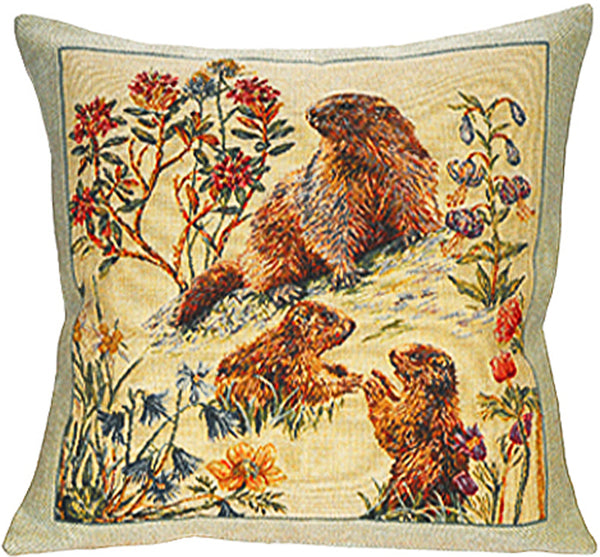 Bebes Marmottes French Tapestry Cushion