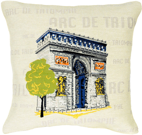 Arc De Triomphe Pop French Tapestry Cushion