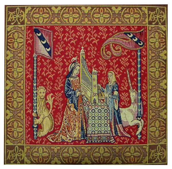 Dame A L'Orgue French Tapestry Cushion