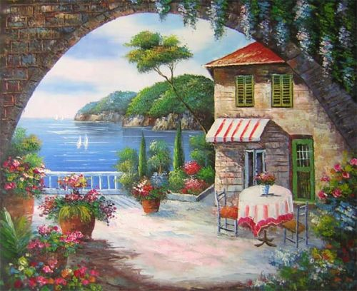 Seaside Cafe Canvas Wall Art