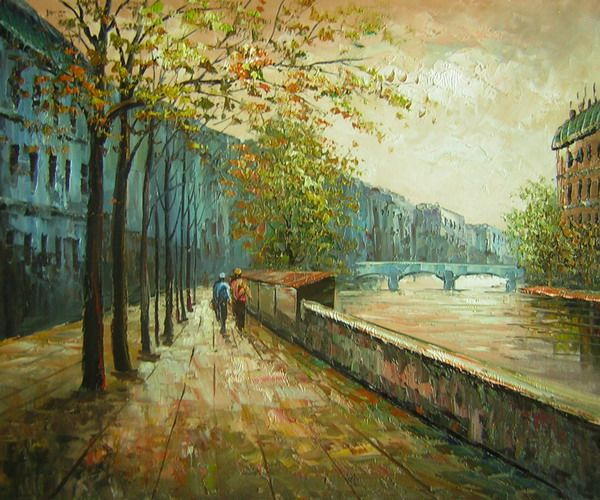 Walk Along the Canal Canvas Wall Art