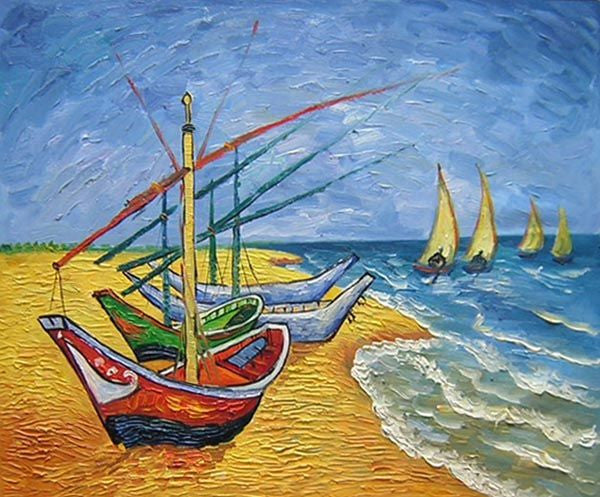 Fishing Boats on the Beach at Saintes-Maries Canvas Wall Art