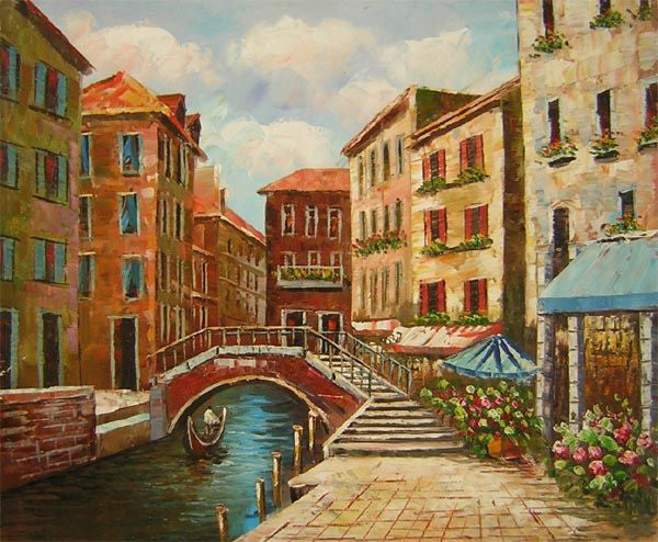 Bridge Over the Canal I Canvas Wall Art