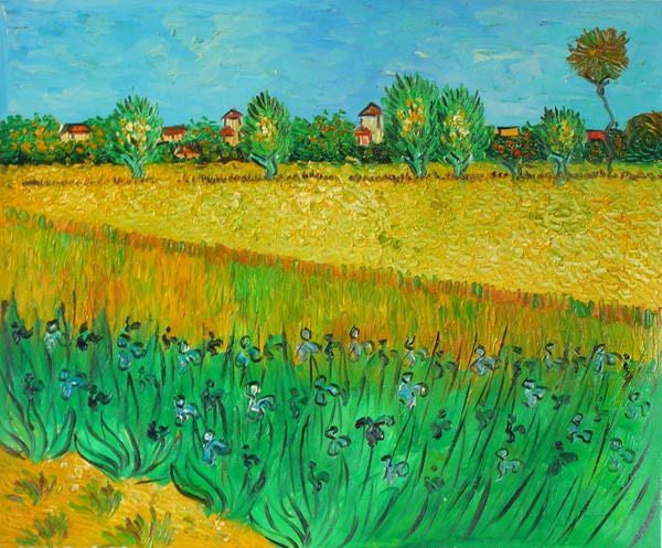 Wheatfield with Irises Canvas Wall Art