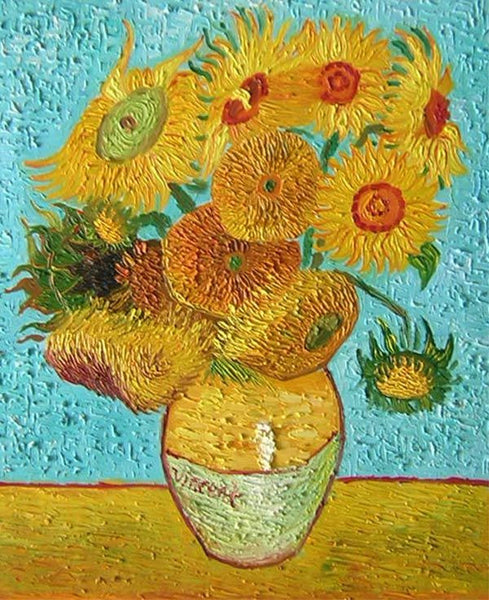 Vase with Twelve Sunflowers Canvas Wall Art