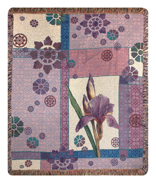 Garden Iris Tapestry Throw